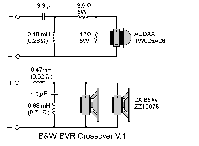 bw bowers wilkins big vent reflex short horn d'appolito, schematic